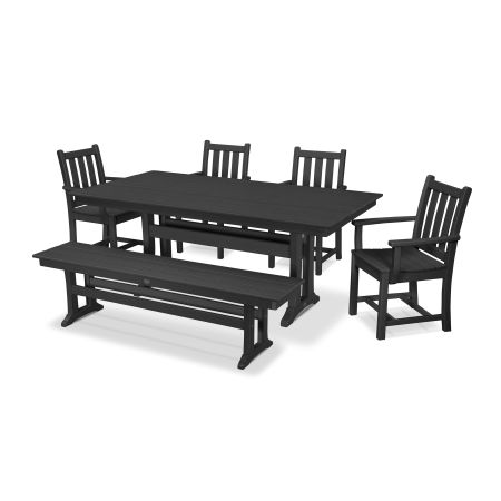 Traditional Garden 6-Piece Farmhouse Dining Set with Bench in Black
