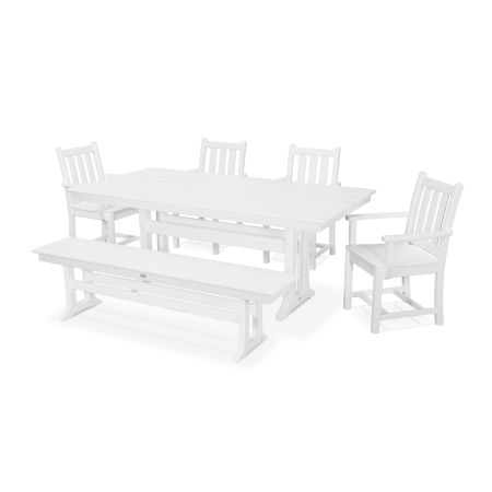 Traditional Garden 6-Piece Farmhouse Dining Set with Bench in White