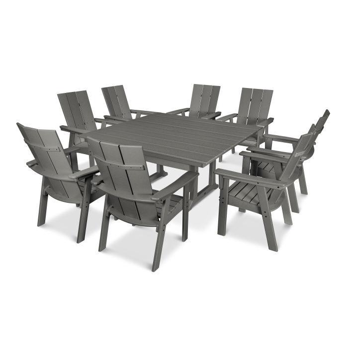 POLYWOOD® Modern Adirondack 9-Piece Farmhouse Dining Set