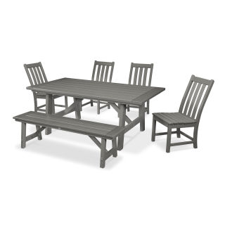 Vineyard 6-Piece Rustic Farmhouse Side Chair Dining Set with Bench