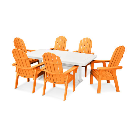 Vineyard Adirondack 7-Piece Nautical Trestle Dining Set in Tangerine