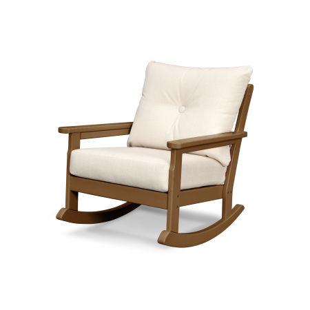 Vineyard Deep Seating Rocking Chair in Teak / Antique Beige