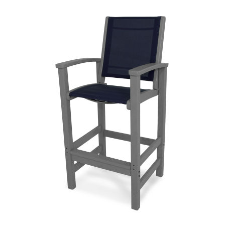 Coastal Bar Chair in Slate Grey / Navy Blue Sling