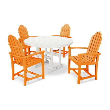 Classic Adirondack Dining 5-Piece Set in Tangerine / White