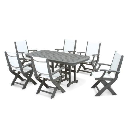 Coastal 7-Piece Dining Set in Slate Grey / White Sling