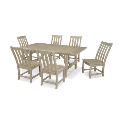 Vineyard 7-Piece Rustic Farmhouse Side Chair Dining Set in Vintage Sahara