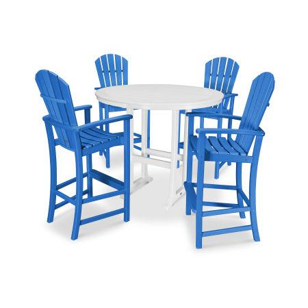 5 Piece Palm Coast Bar Set in Pacific Blue / White