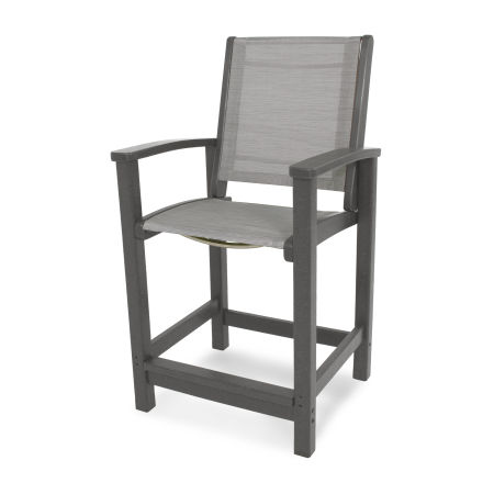 Coastal Counter Chair in Slate Grey / Metallic Sling