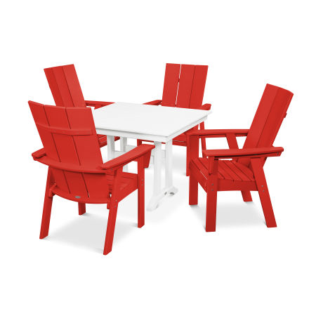 Modern Adirondack 5-Piece Farmhouse Dining Set in Sunset Red / White