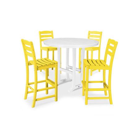 La Casa Café 5 Piece Side Chair Bar Dining Set in Lemon