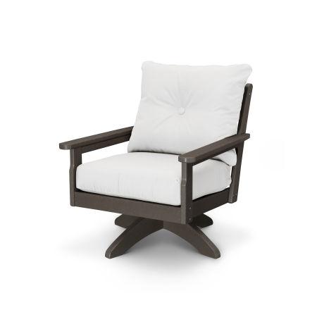 Vineyard Deep Seating Swivel Chair in Vintage Finish