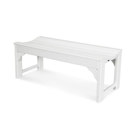 """Traditional Garden 48"""" Backless Bench in White"""