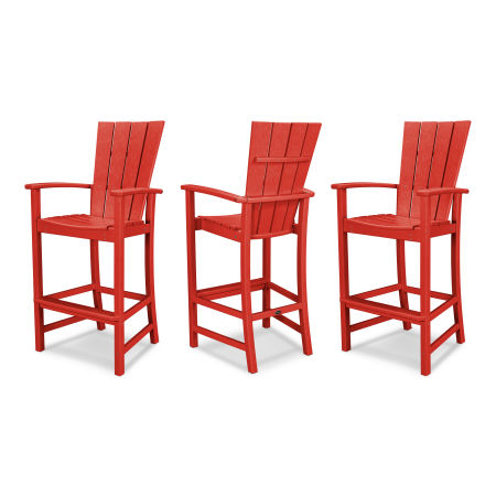Quattro 3-Piece Bar Set in Sunset Red