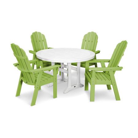 Vineyard Adirondack 5-Piece Nautical Trestle Dining Set in Lime / White