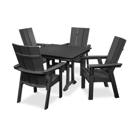 Modern Adirondack 5-Piece Farmhouse Dining Set in Black