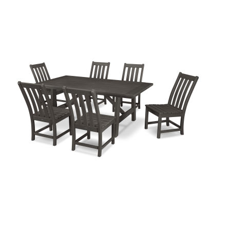 Vineyard 7-Piece Rustic Farmhouse Side Chair Dining Set in Vintage Finish