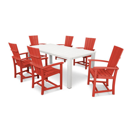 Quattro 7-Piece Dining Set  in Sunset Red