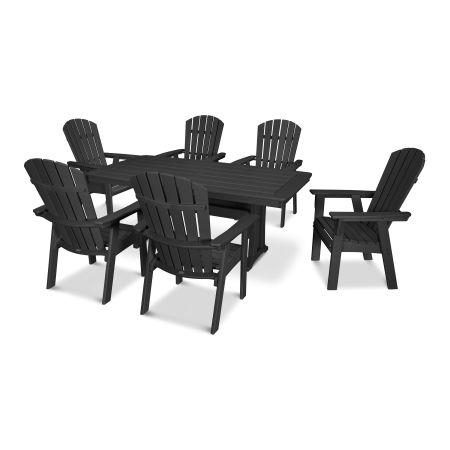 Nautical Adirondack 7-Piece Trestle Dining Set in Black