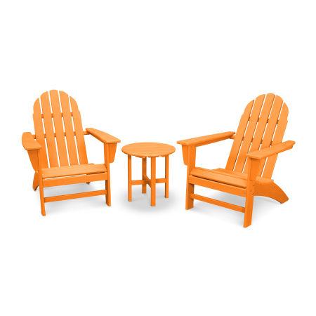 Vineyard 3-Piece Adirondack Set in Vintage Tangerine