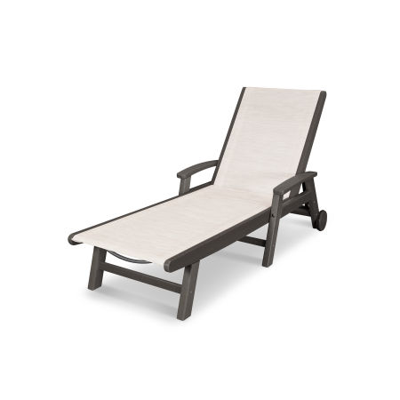 Coastal Chaise with Wheels in Vintage Finish