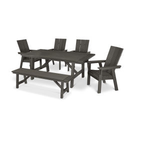 Modern Adirondack 6-Piece Rustic Farmhouse Dining Set with Bench in Vintage Finish