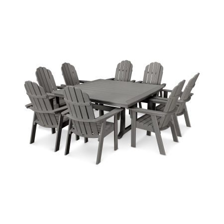 Vineyard Adirondack 9-Piece Nautical Trestle Dining Set