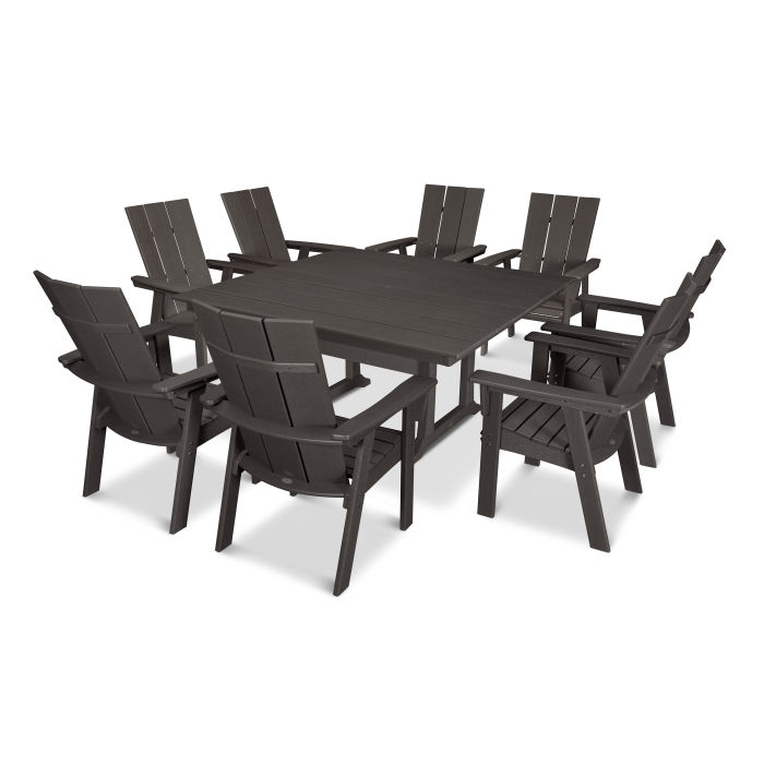 Modern Adirondack 9 Piece Farmhouse Dining Set In Vintage Finish