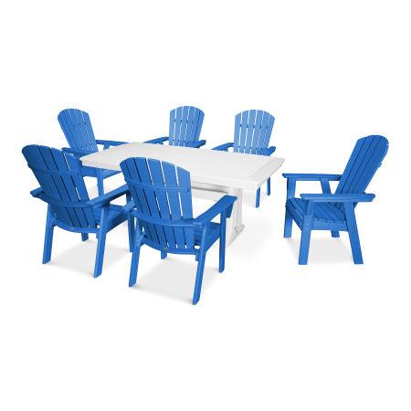Nautical Adirondack 7-Piece Trestle Dining Set in Pacific Blue / White