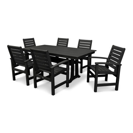 Signature 7 Piece Farmhouse Dining Set in Black