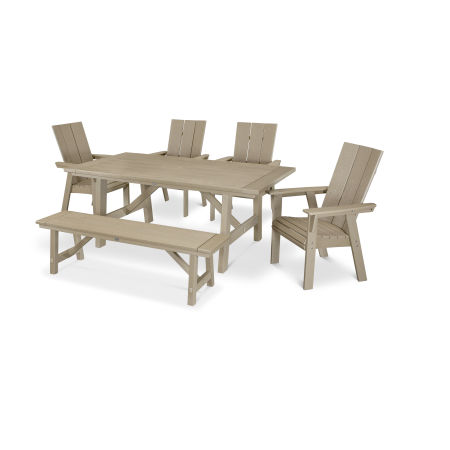 Modern Adirondack 6-Piece Rustic Farmhouse Dining Set with Bench in Vintage Sahara