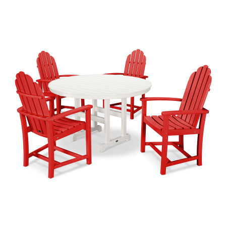 Classic Adirondack Dining 5-Piece Set in Sunset Red / White