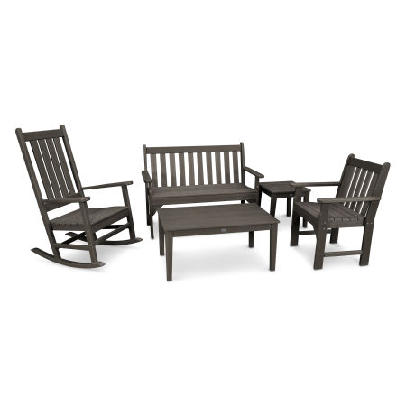 Vineyard 5-Piece Bench & Rocking Chair Set in Vintage Finish