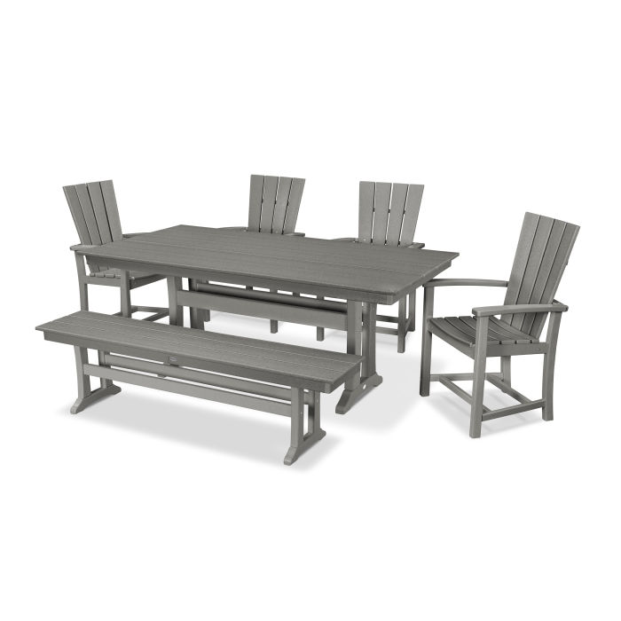 Brilliant Polywood Quattro 6 Piece Farmhouse Dining Set With Bench Gamerscity Chair Design For Home Gamerscityorg