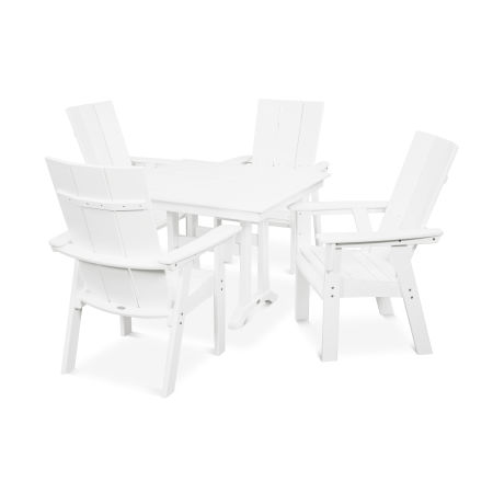 Modern Adirondack 5-Piece Farmhouse Dining Set in White