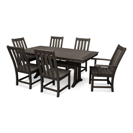 Vineyard 7-Piece Nautical Trestle Dining Set in Vintage Finish