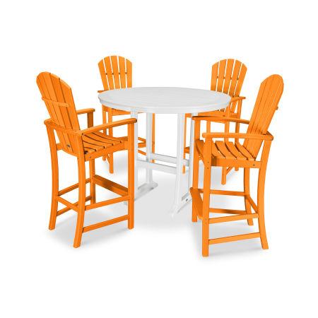 5 Piece Palm Coast Bar Set in Tangerine / White