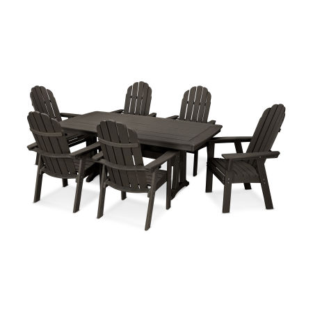 Vineyard Adirondack 7-Piece Nautical Trestle Dining Set in Vintage Finish