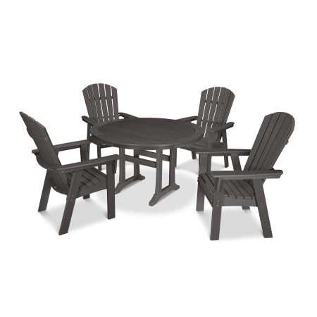 Nautical Adirondack 5-Piece Round Trestle Dining Set in Vintage Finish
