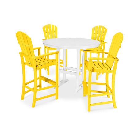 5 Piece Palm Coast Bar Set in Lemon / White