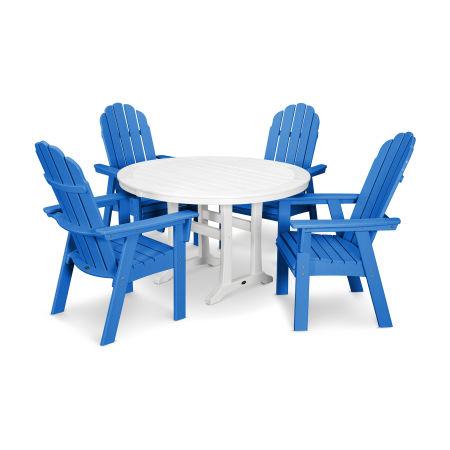 Vineyard Adirondack 5-Piece Nautical Trestle Dining Set in Pacific Blue / White