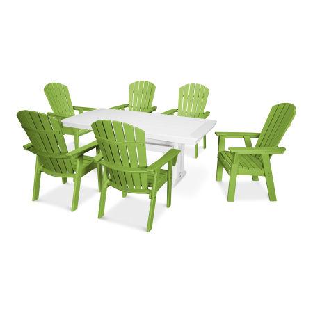 Nautical Adirondack 7-Piece Trestle Dining Set in Lime / White